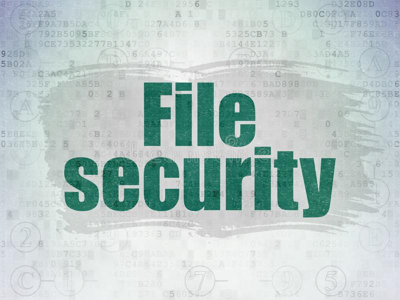 Privacy concept: File Security on Digital Data Paper background. Privacy concept: Painted green text File Security on Digital Data Paper background with Scheme vector illustration