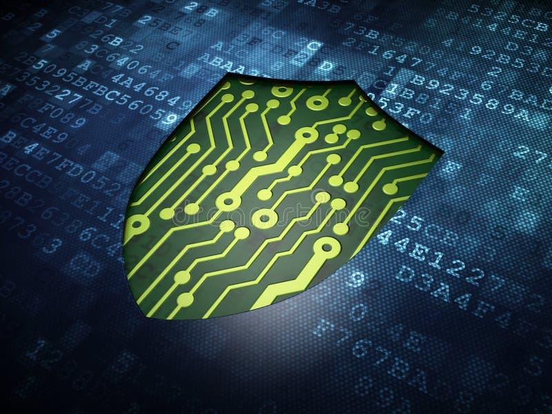 Privacy concept: Shield on digital screen vector illustration