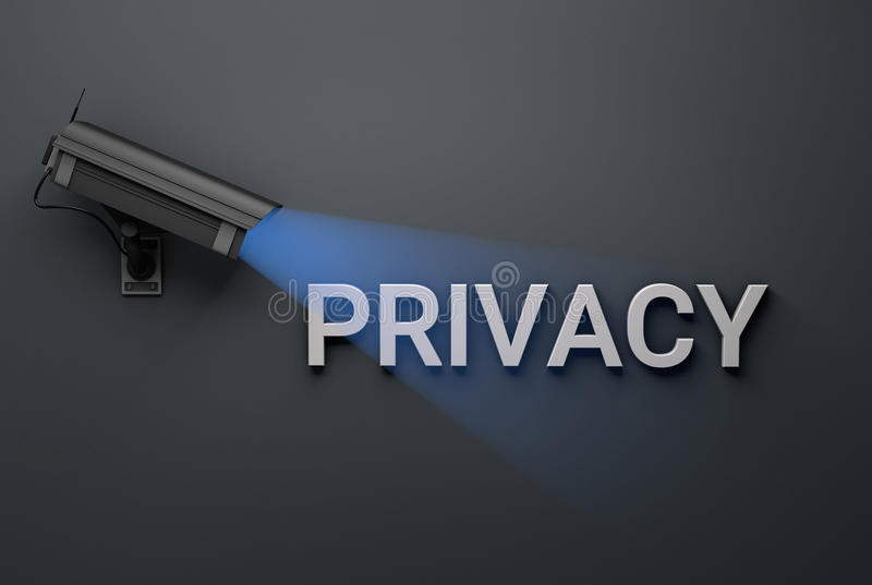 Privacy concept with surveillance camera royalty free illustration