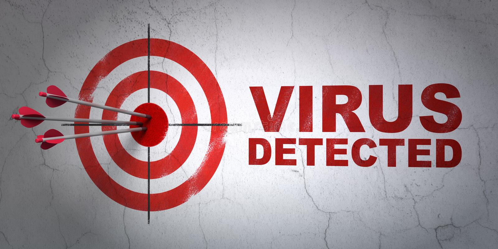Privacy concept: target and Virus Detected on wall background stock photos
