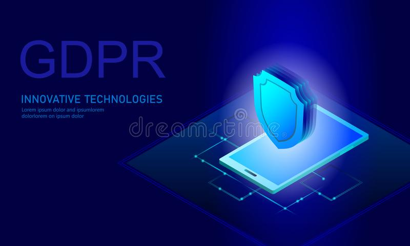 Privacy data protection law GDPR. Data regulation sensitive information safety shield European Union. Right to be. Forgotten removing flat isometric 3d. Global stock illustration