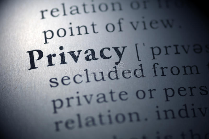 Privacy. Dictionary definition of the word privacy stock image