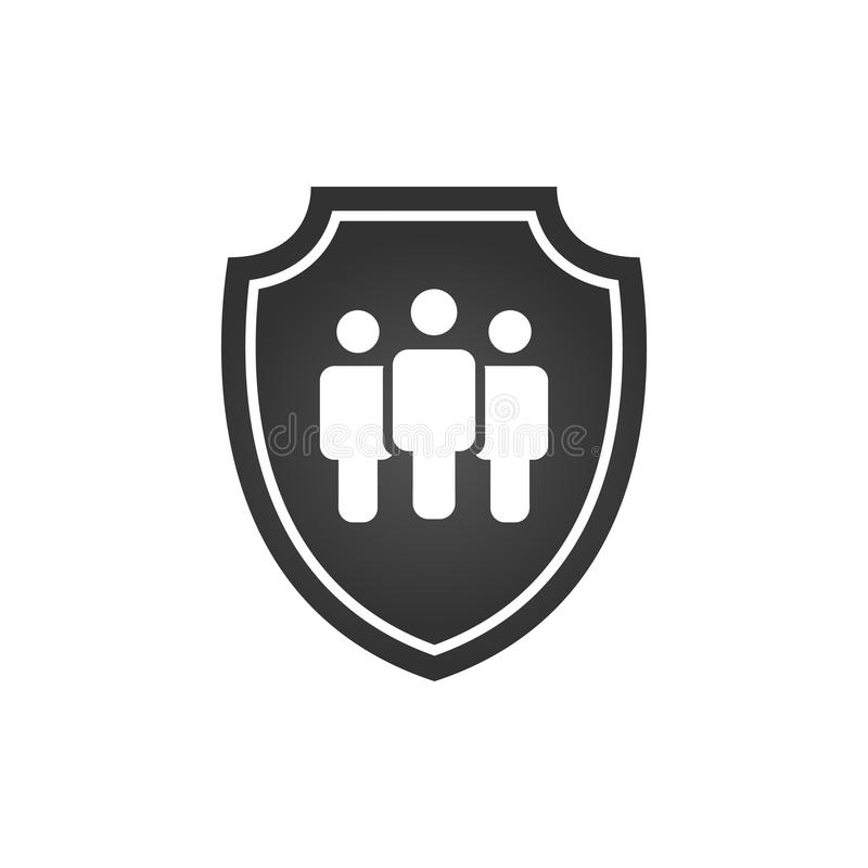 Privacy icon, flat shield with three people silhouette symbol, personal protection sign, insurance or authentication security icon royalty free illustration
