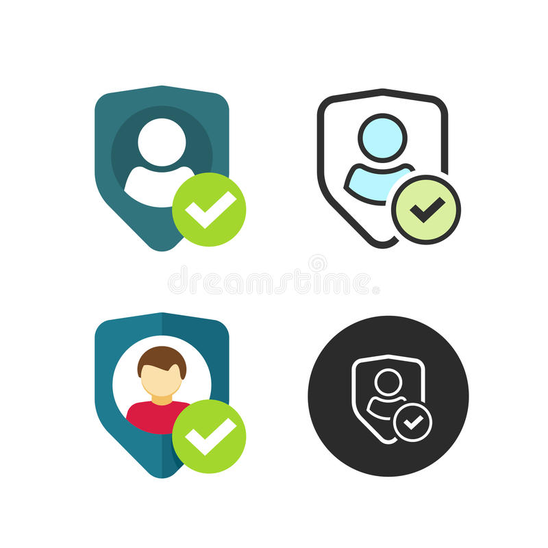 Privacy icon, shield user silhouette symbol, personal protection authentic sign stock illustration