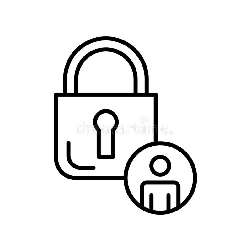 Privacy icon vector isolated on white background, Privacy sign , thin line design elements in outline style. Privacy icon vector isolated on white background stock illustration