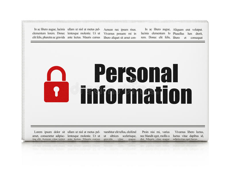 Privacy news concept: newspaper with Personal vector illustration