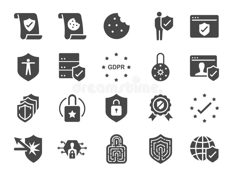 Privacy policy icon set. Included the icons as security information, GDPR, data protection, shield, cookies policy, compliant, per. Vector and illustration stock illustration