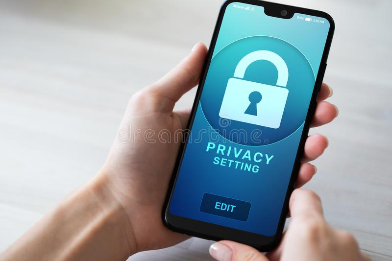 Privacy settings on mobile phone screen. Cyber security concept. stock photos