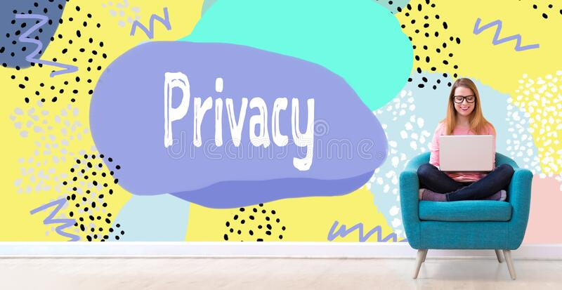 Privacy with woman using a laptop stock photography