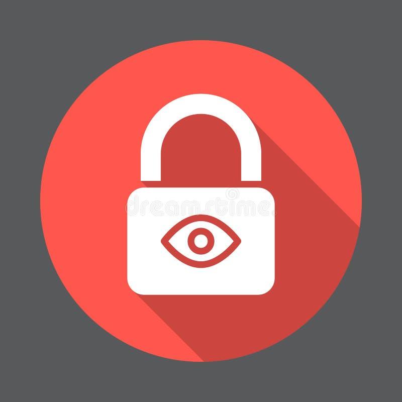 Privacybescherming, Slot met oog vlak pictogram Ronde kleurrijke knoop, cirkel vectorteken met lang schaduweffect royalty-vrije illustratie