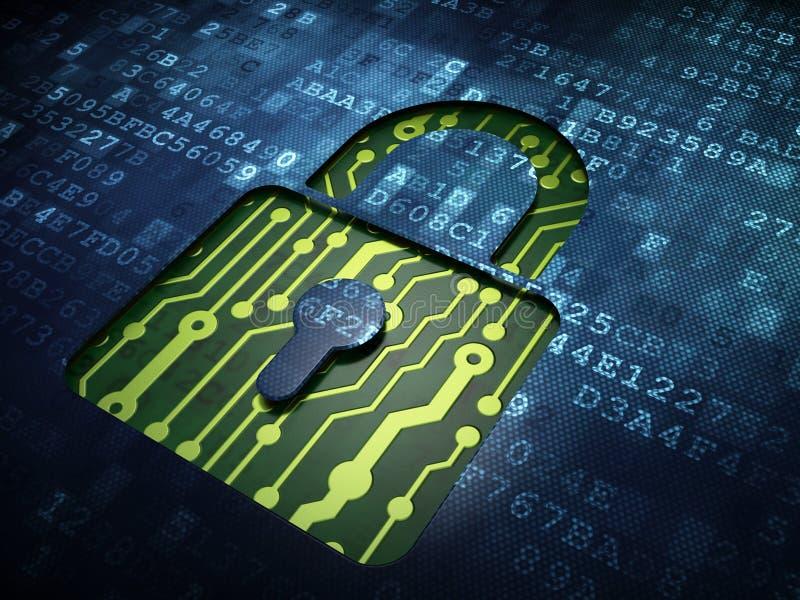 Privacyconcept: Gesloten Hangslot op het digitale scherm stock illustratie