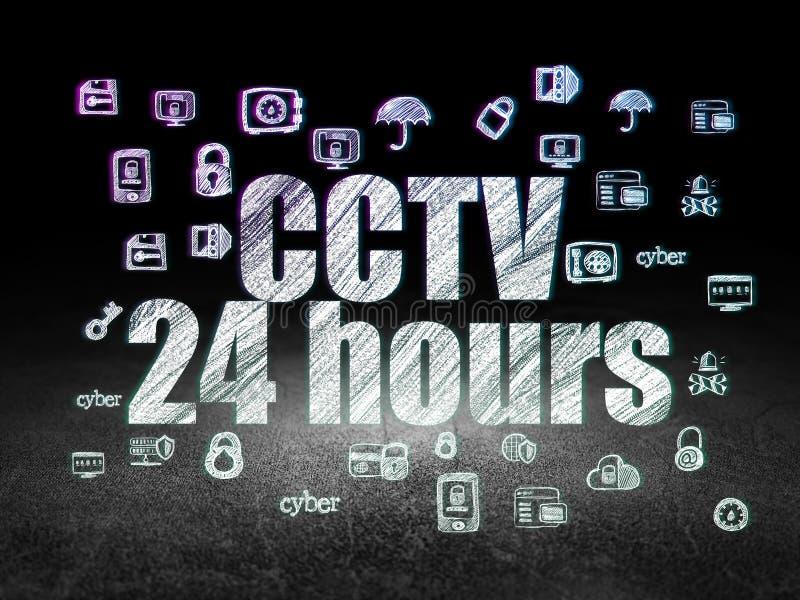 Privacyconcept: Kabeltelevisie 24 uren in grunge donkere ruimte stock illustratie