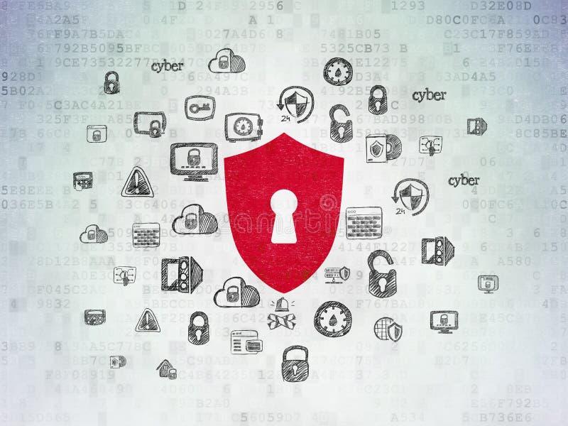 Privacyconcept: Schild met Sleutelgat op Digitale Gegevensdocument achtergrond royalty-vrije illustratie