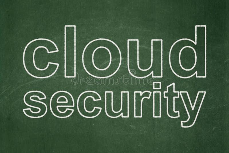 Privacyconcept: Wolkenveiligheid op bordachtergrond stock foto