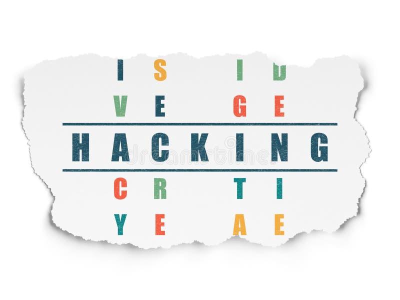 Privacyconcept: woord het Binnendringen in een beveiligd computersysteem in het oplossen van Kruiswoordraadsel royalty-vrije illustratie
