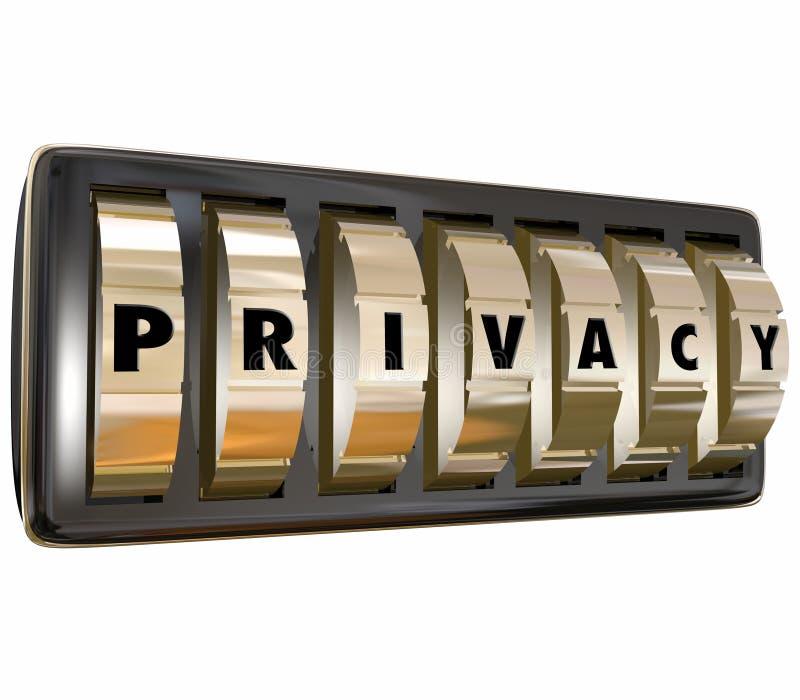 Privacyword beschermen de Gouden Slotwijzerplaten Persoonlijke Infromation-Gegevens S royalty-vrije illustratie