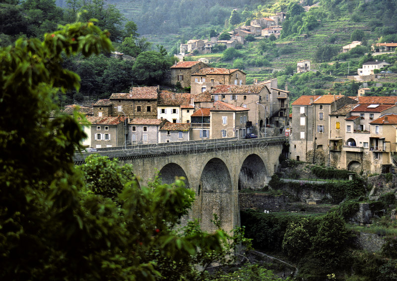 Privas, town in France. Town in central France with an old and new part on a river that mostly runs dry in the summer royalty free stock photos