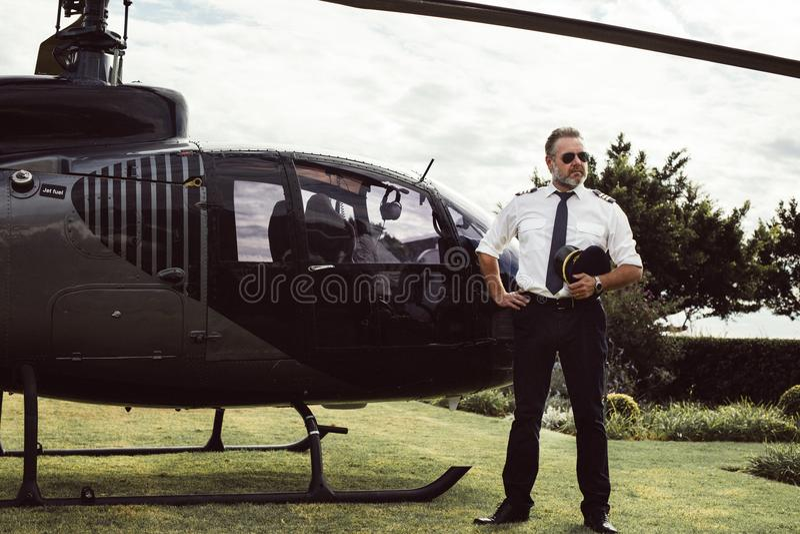 Privat helikopterpilot fotografering för bildbyråer