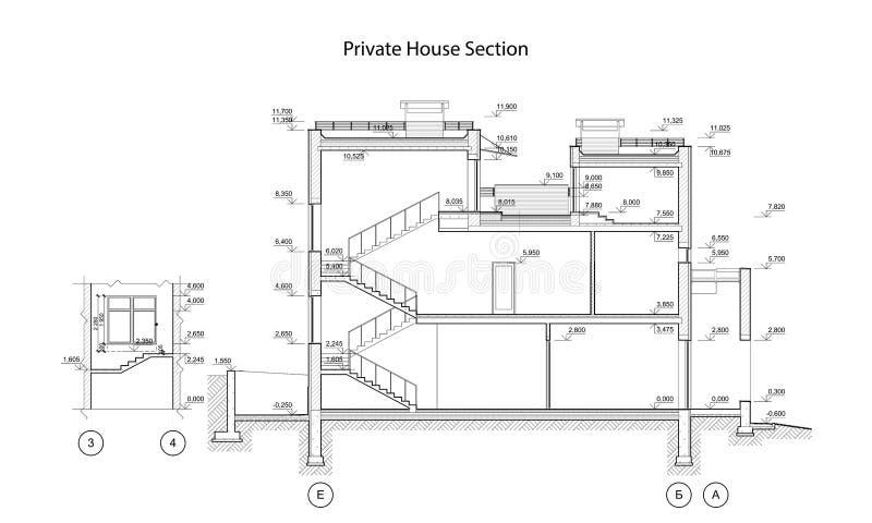 Privat husavsnitt, detaljerad arkitektonisk teknisk teckning, vektorritning vektor illustrationer