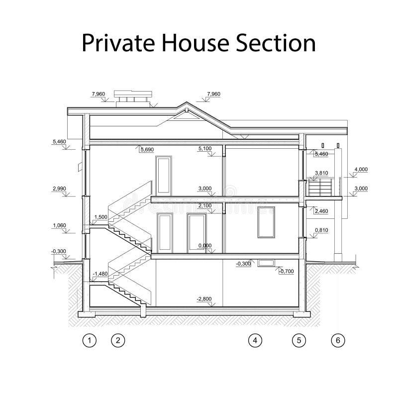 Privat husavsnitt, detaljerad arkitektonisk teknisk teckning, vektorritning stock illustrationer