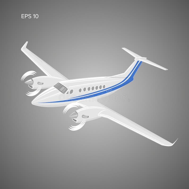 Privat illustration för plan vektor Tvilling- motor framdrivit flygplan också vektor för coreldrawillustration vektor illustrationer
