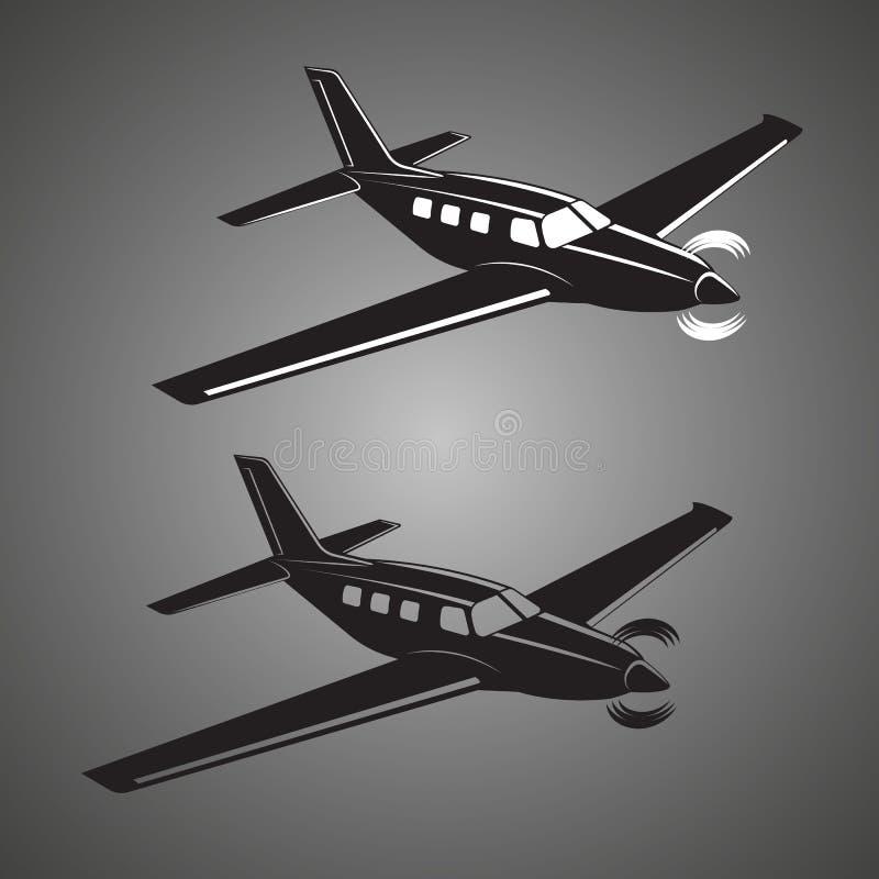 Privat illustrationsymbol för plan vektor Framdrivit flygplan för enkel motor stock illustrationer