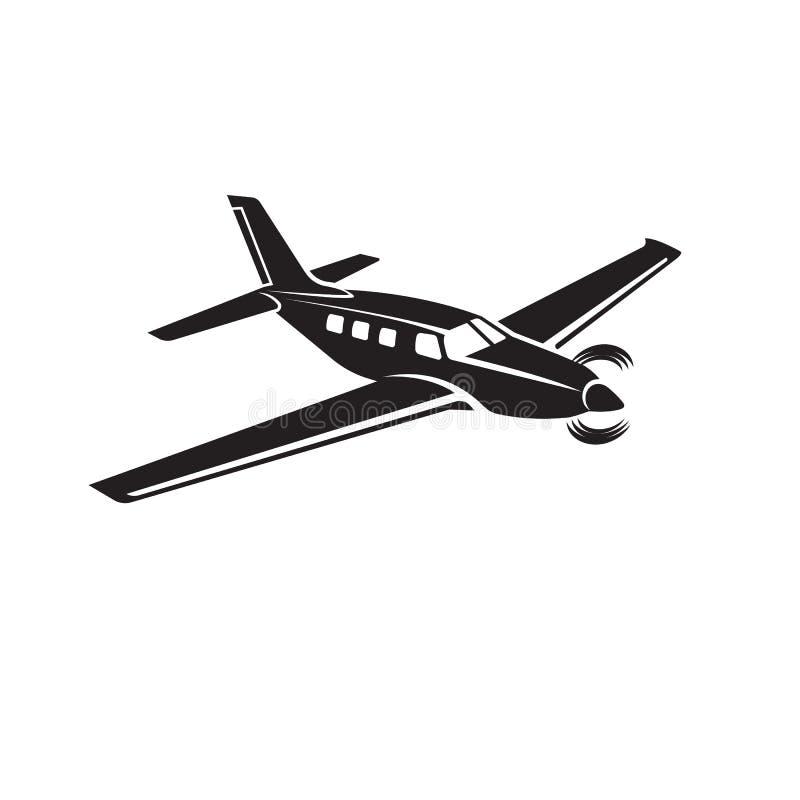 Privat illustrationsymbol för plan vektor Framdrivit flygplan för enkel motor vektor illustrationer