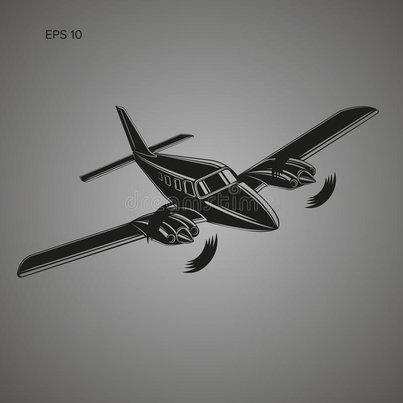 Privat illustrationsymbol för plan vektor Tvilling- motor framdrivit flygplan stock illustrationer