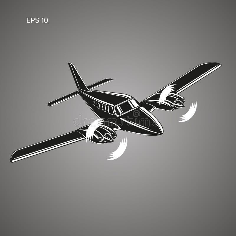 Privat illustrationsymbol för plan vektor Tvilling- motor framdrivit flygplan royaltyfri illustrationer