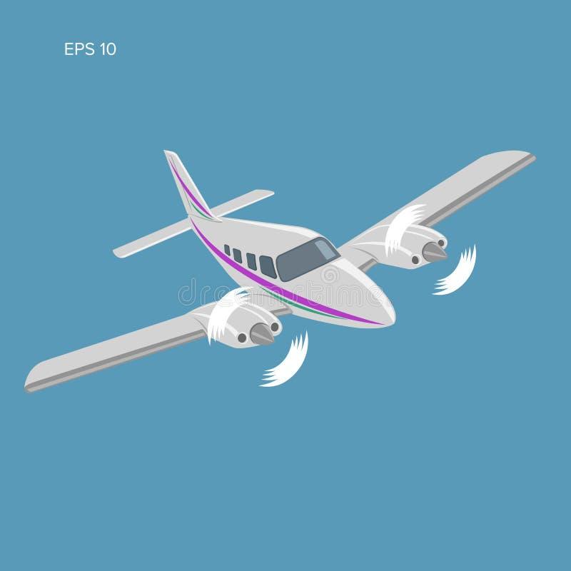 Privat illustrationsymbol f?r plan vektor Tvilling- motor framdrivit flygplan vektor illustrationer