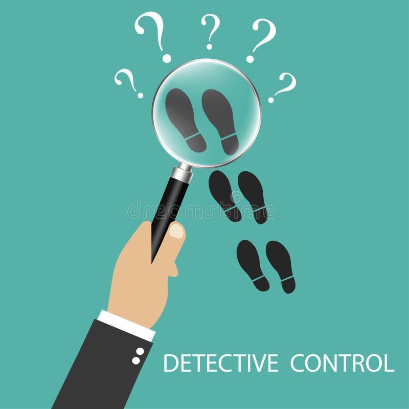 Privat kriminalare Följ något nära Detektiv- förstoringsglas Detektiv- kontroll Följ i spåren av något Vecto royaltyfri illustrationer