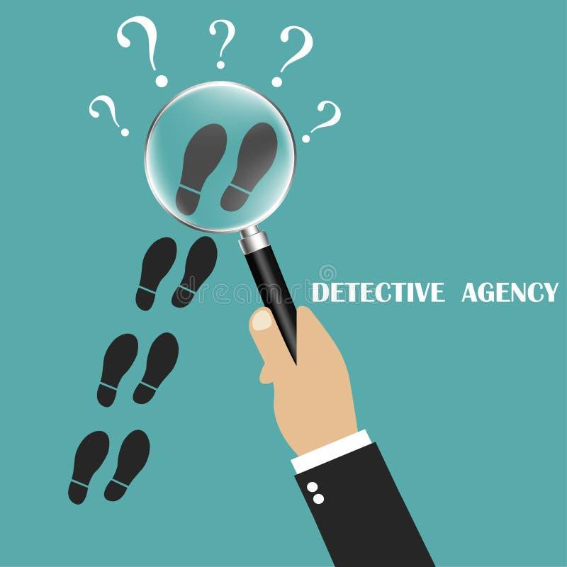Privat kriminalare Följ något nära Detektiv- förstoringsglas Detektiv- kontroll Följ i spåren av något Vecto vektor illustrationer