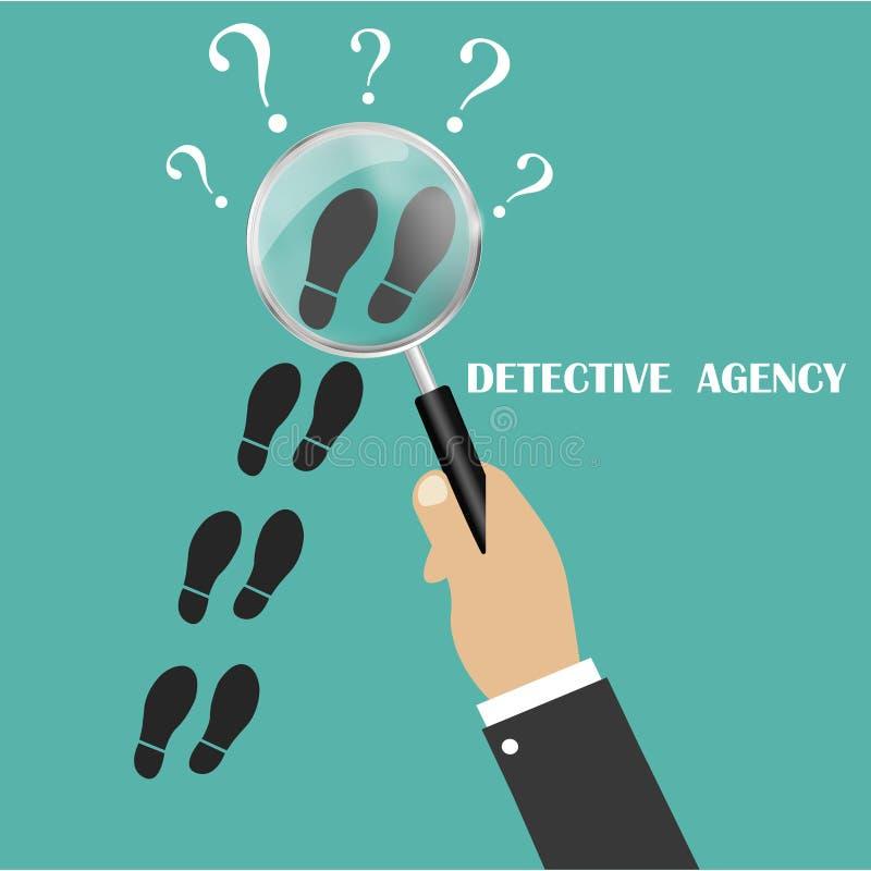Privat kriminalare Följ något nära Detektiv- förstoringsglas Detektiv- kontroll Följ i spåren av något Vecto stock illustrationer
