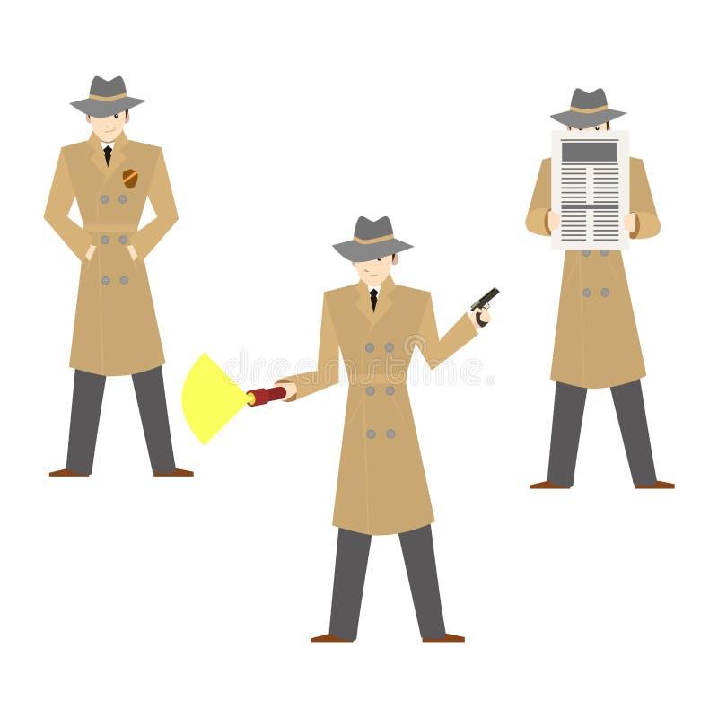 Privat kriminalare Set för tecknad filmtecken vektor stock illustrationer