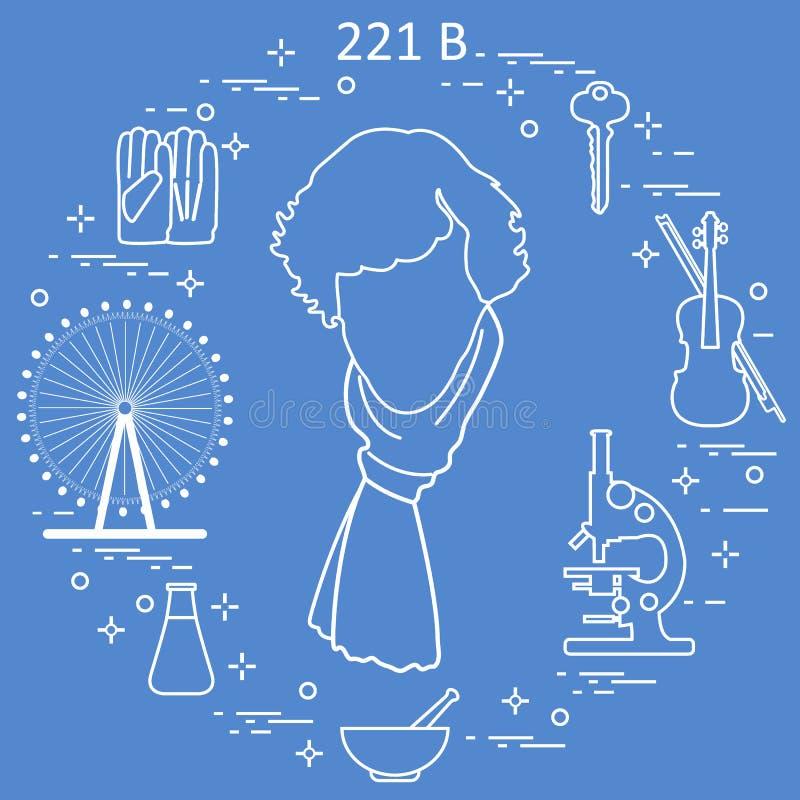 Privat kriminalare Sherlock Holmes med variationshjälpmedel och utrustning Hjälten av den populära TV-serie Design för meddelande royaltyfri illustrationer