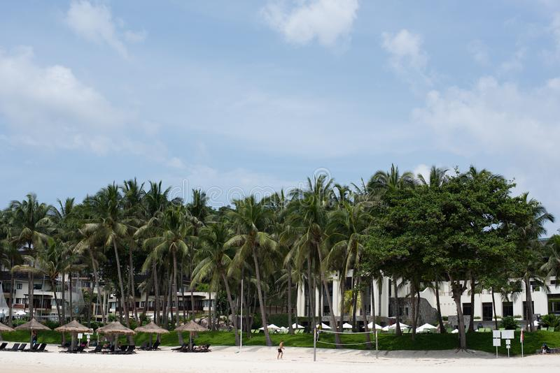 Privat strand av ClubMed Bintan royaltyfri bild