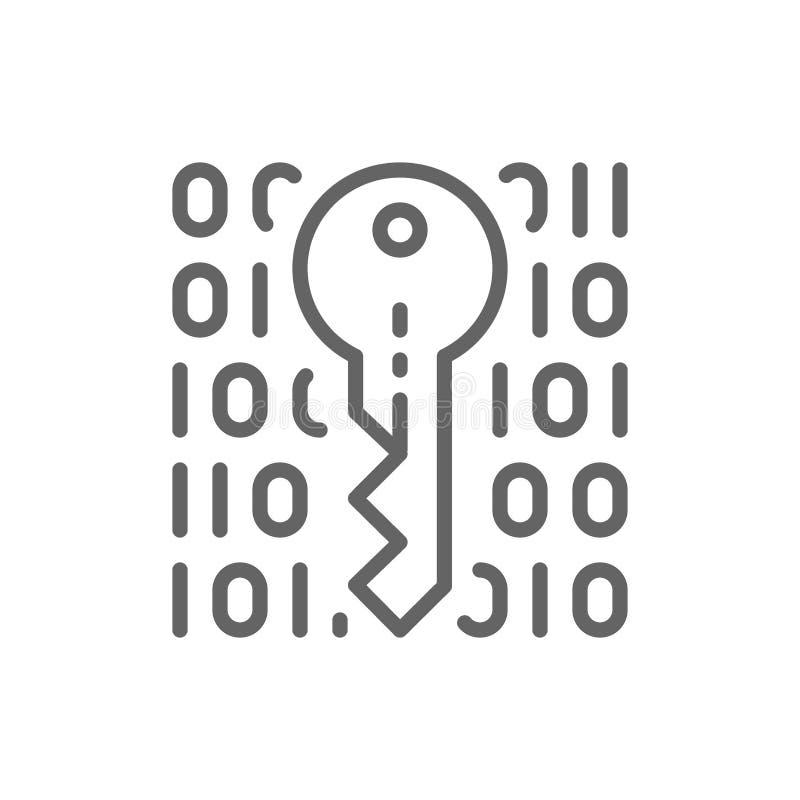 Privat tangent som kodifierar, kryptografi, cybers?kerhetslinje symbol royaltyfri illustrationer