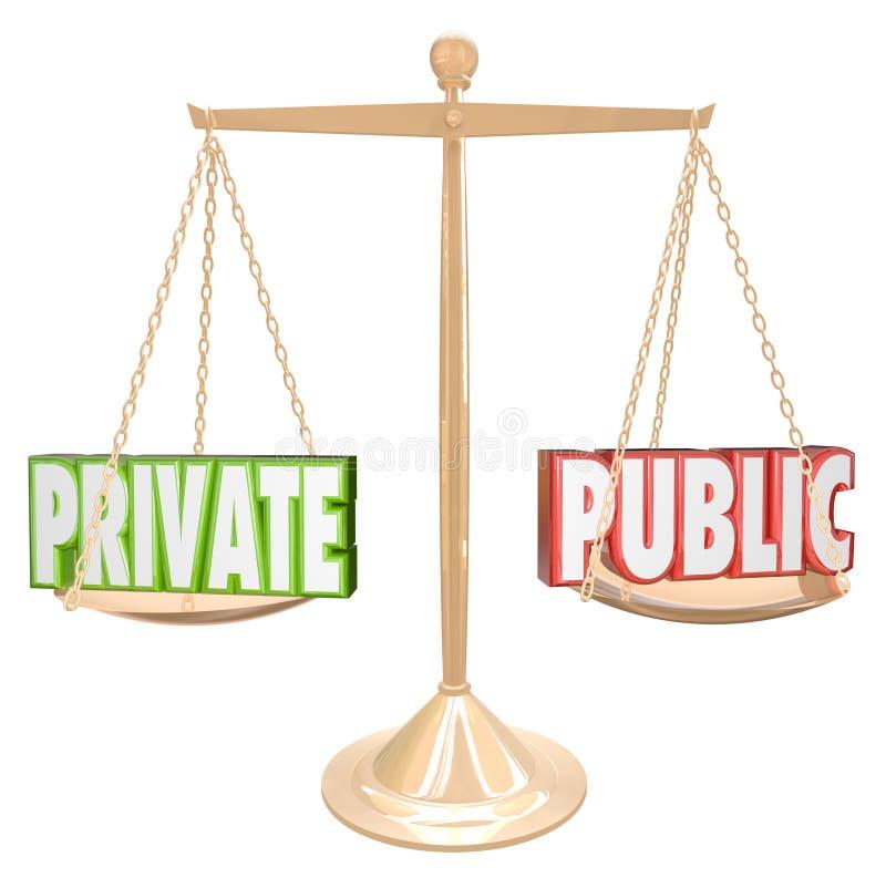 Privat Vs offentlig information specificerar förtrolig sekretess stock illustrationer