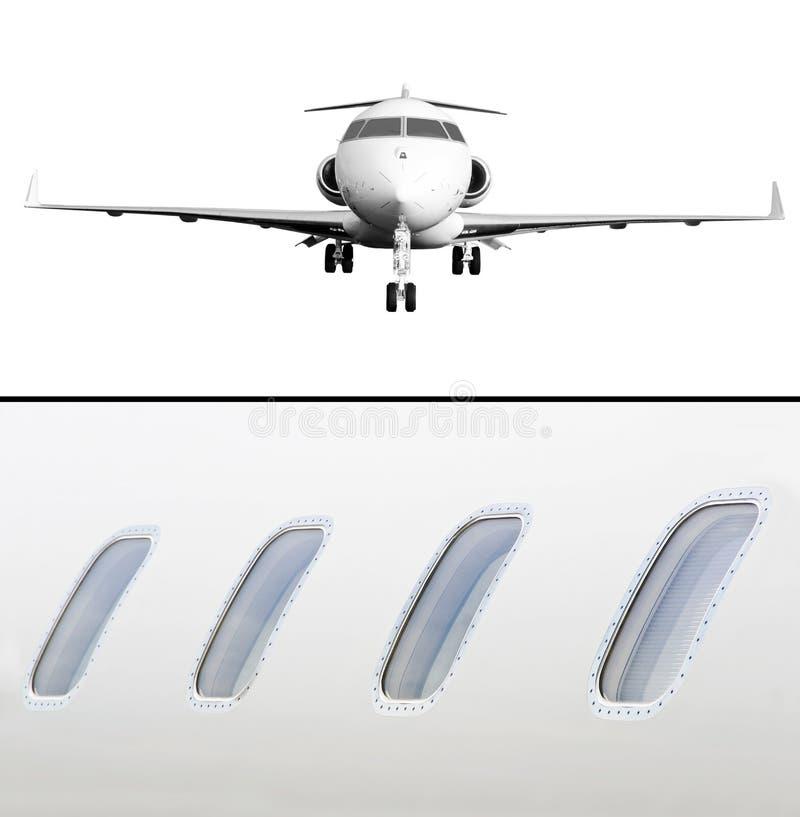 Privata Jet Aircraft Isolated på vit och Windows detalj arkivbild