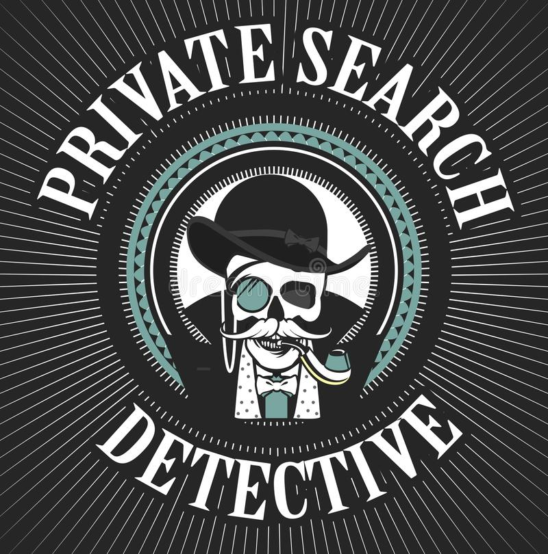 Privatdetektiv Skull vektor illustrationer