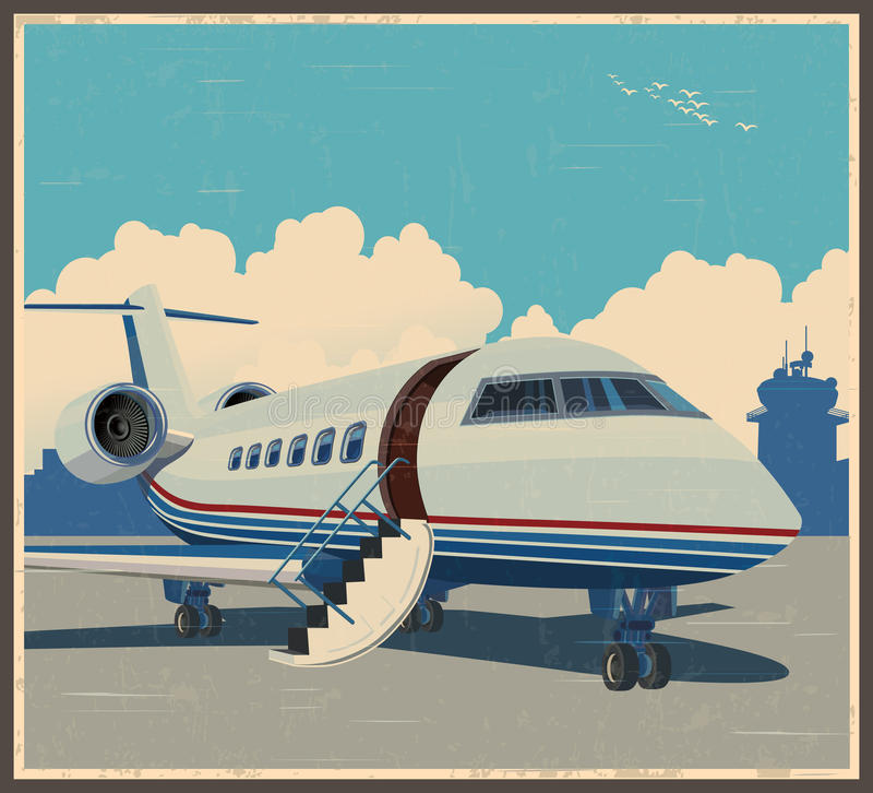 Private aviation retro poster vector illustration