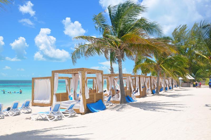 Private beach beds at the Perfect Day CocoCay island stock photo