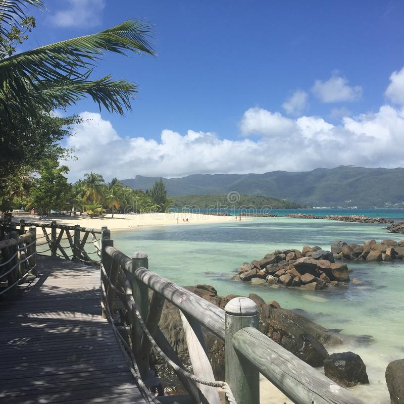 St. Annes`s Resort and Spa, Seychelles. A private beach of St. Anne`s Resort and Spa stock image