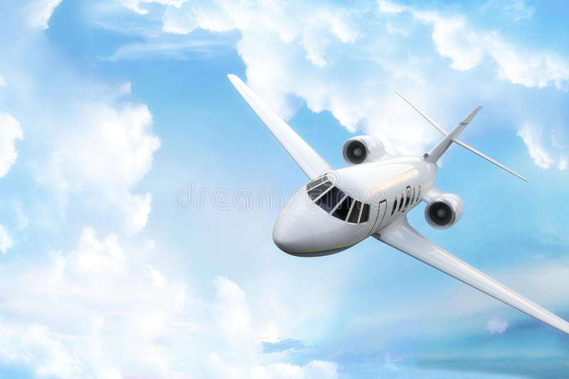 Private business jet. With sky background and room for text or copy space stock images