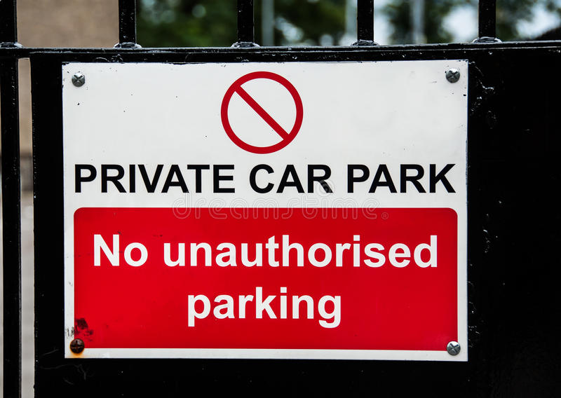 Private Car Park Sign On A Metal Gate Royalty Free Stock Images