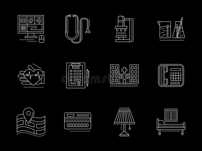Private clinic services flat line icons set. Symbols of private clinic services. MRI and ultrasound research, laboratory, therapy and other elements. Set of royalty free illustration