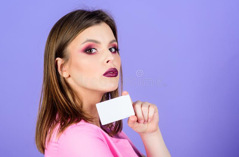 Private clinic. Woman doctor uniform. Doctor hold business card copy space. Medical insurance payment for services. Medical help. Insurance medicine. Health royalty free stock image