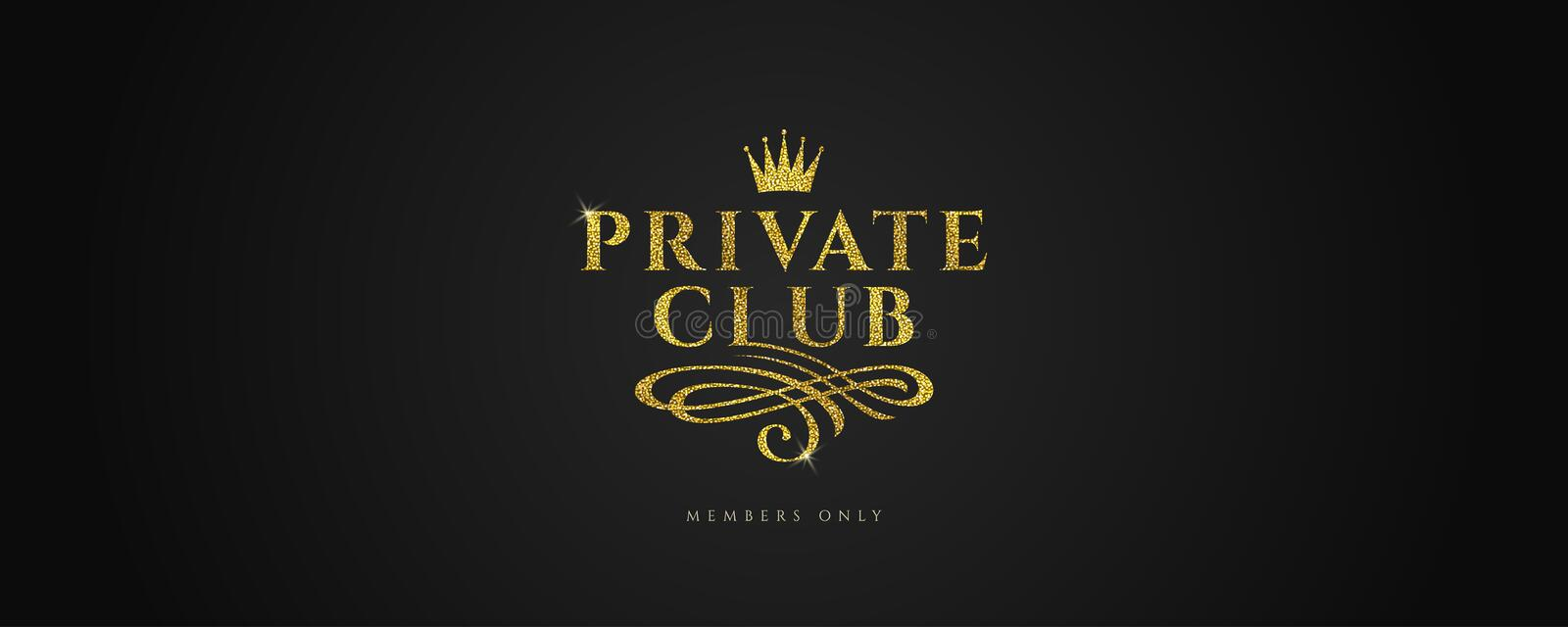 Private club - Glitter gold logo with crown and flourishes element on black background. vector illustration