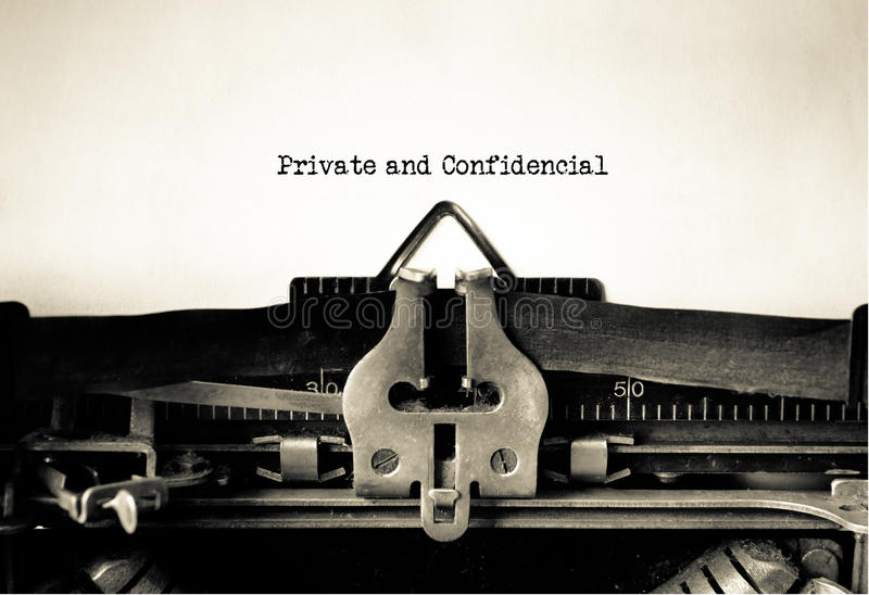 Private and Confidential. Typed on vintage typewriter stock photos
