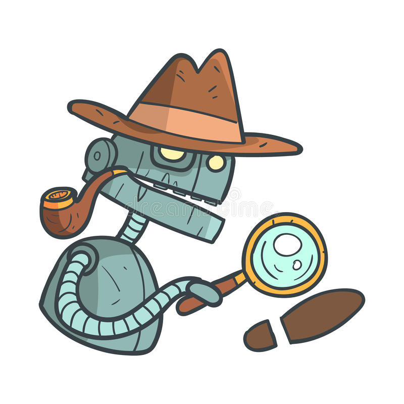 Private Detective Blue Robot With Magnifying Glass And Pipe Cartoon Outlined Illustration With Cute Android And His vector illustration